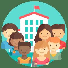 Icono de Centro de Inclusión, donde aparece al fondo un edificio a modo de colegio y un grupo de siete chicas y chicos diferentes entre si.