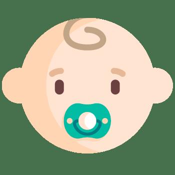 Icono de un bebé con chupete