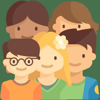 Varios niños de educación primaria. Un niño con gafas, pelo castaño y camiseta naranja; una niña rubia con una flor amarilla en el pelo, con camiseta verde; un chico de pelo castaño y chaqueta azul; una chica morena de piel también morena; una chica con pelo castaño claro.