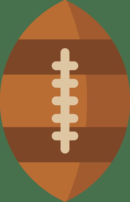 Icono de un balón de rugbi de cuero marrón y costuras beige